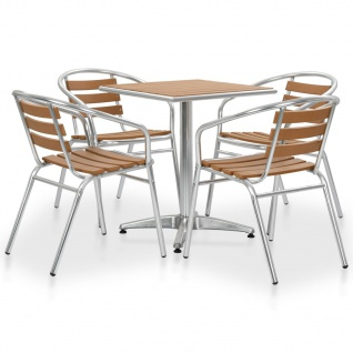 vidaXL 5-tlg. Garten-Essgruppe Aluminium and WPC Silbern