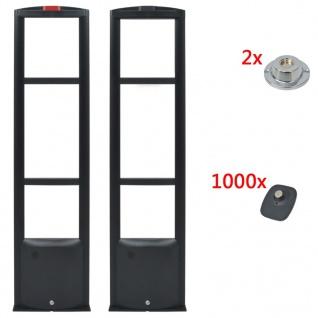 vidaXL Anti-Diebstahl RF Detektor mit Hartetiketten und Lösegeräte 8, 2 MHz Schwarz