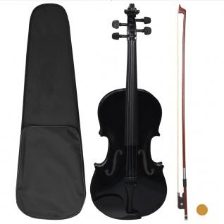 vidaXL Violine Komplettset mit Bogen und Kinnstütze Schwarz 4/4