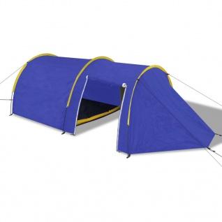 Familienzelt Kuppelzelt Campingzelt 4 Personen Blau/Gelb