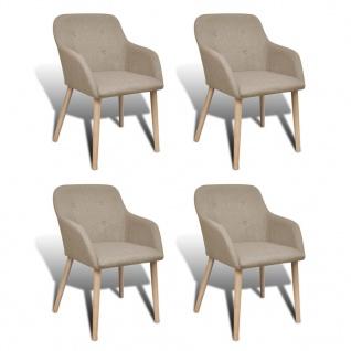 vidaXL Esszimmerstühle 4 Stk. Beige Stoff und Massivholz Eiche