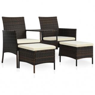vidaXL 2-Sitzer-Gartensofa mit Tisch & Hocker Poly Rattan Braun