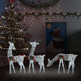 vidaXL Weihnachtsdekoration Rentiere 270x7x90 cm Silbern Warmweiß