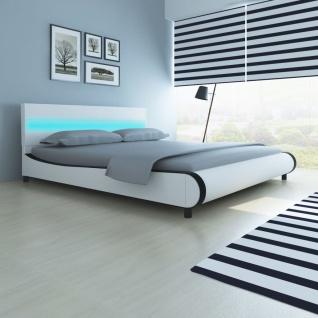 Bett mit LED-Leiste am Kopfteil + Memory-Schaum-Matratze 180 cm