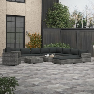 vidaXL 13-tlg. Garten-Lounge-Set mit Polstern Poly Rattan Grau