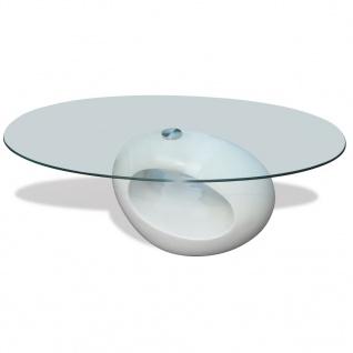 vidaXL Couchtisch mit ovaler Glasplatte Hochglanz Weiß