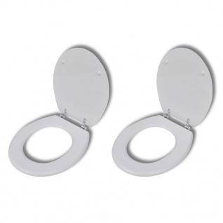 vidaXL Toilettensitze mit Hartschalendeckel 2 Stk. MDF Weiß