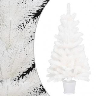 vidaXL Künstlicher Weihnachtsbaum mit Topf Weiß 90 cm PE