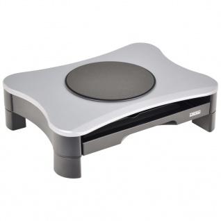 DESQ Monitorständer mit Drehgelenk und Schublade Grau