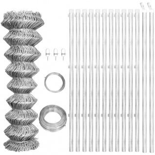vidaXL Maschendrahtzaun mit Pfosten Verzinkter Stahl 25×1, 25 m Silbern
