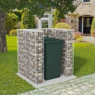 vidaXL Gabionen-Mülltonnenverkleidung für 1 Tonne Stahl 110×100×120 cm