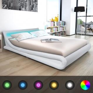 vidaXL Bett mit LED-Streifen mit Matratze Kunstleder 160x200 cm Weiß