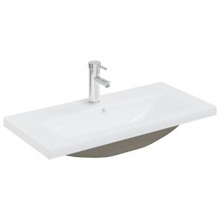 vidaXL Einbauwaschbecken mit Wasserhahn 81x39x18 cm Keramik Weiß
