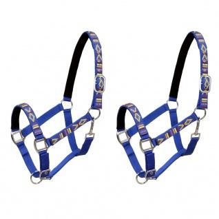 vidaXL Pferdehalfter 2 Stück Nylon Größe Vollblut Blau