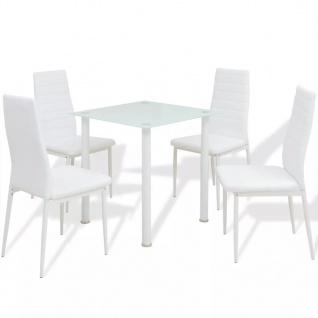 vidaXL 5-tlg. Essgruppe Esstisch mit Stühlen Weiß