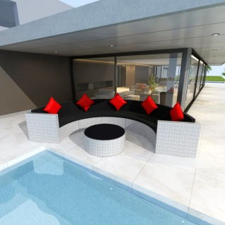 vidaXL 6-tlg. Garten-Lounge-Set mit Auflagen Poly Rattan Weiß