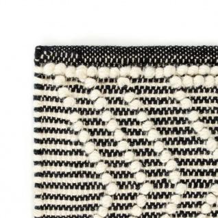 vidaXL Teppich Handgewebt Wolle 140×200 cm Schwarz/Weiß - Vorschau 4