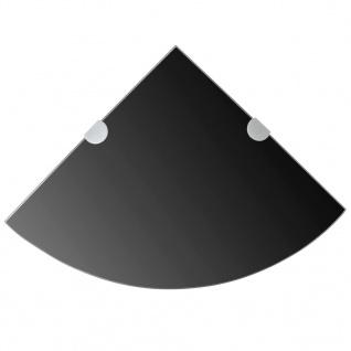 vidaXL Eckregal mit verchromten Halterungen Glas Schwarz 25 x 25 cm