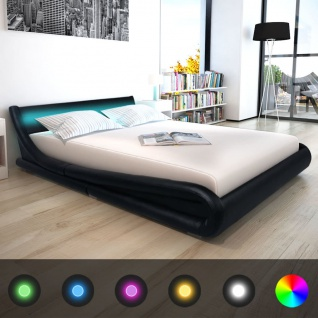 vidaXL Bett + LED + Memory Matratze Kunstleder 160x200 cm schwarz