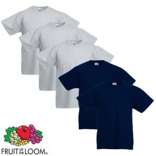 Fruit of the Loom Kinder-T-Shirt 5 Stk. Grau und Marineblau Größe 116
