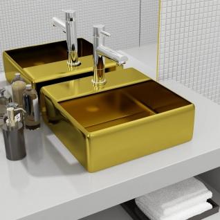 vidaXL Waschbecken mit Wasserhahnloch 38 x 30 x 11, 5 cm Keramik Golden