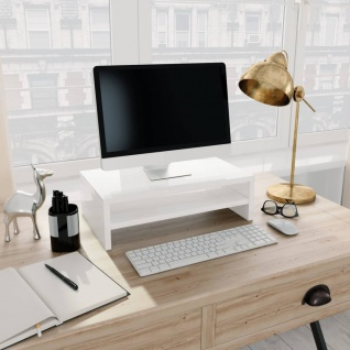vidaXL Monitorständer Hochglanz-Weiß 42×24×13 cm Spanplatte