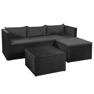 vidaXL 3-tlg. Garten-Lounge-Set Poly Rattan Schwarz und Grau