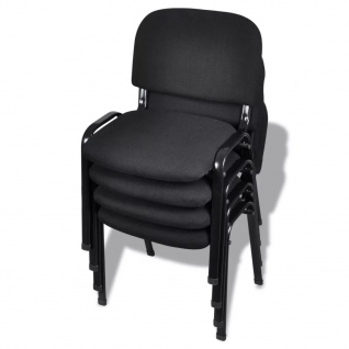 vidaXL Stapelbare Bürostühle 4 Stk Stoff Schwarz
