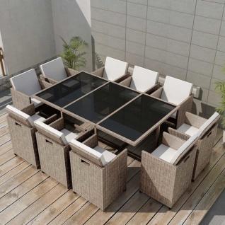 vidaXL 11-tlg. Garten-Essgruppe mit Auflagen Poly Rattan Beige