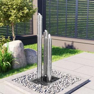vidaXL Gartenbrunnen Silbern 48x34x123 cm Edelstahl