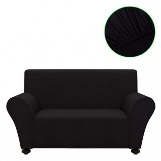 vidaXL Sofahusse Sofabezug Stretchhusse Schwarz Polyester-Jersey
