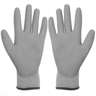 vidaXL Arbeitshandschuhe PU 24 Paar Weiß und Grau Gr. 9/L - Vorschau 2