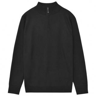 vidaXL Herren Pullover Sweater mit Reißverschluss Schwarz XXL