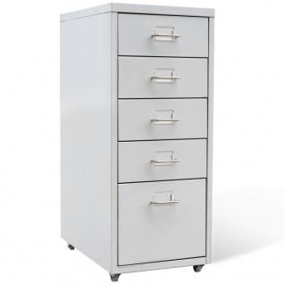 vidaXL Registerschrank mit 5 Schubladen Grau 68, 5 cm Stahl