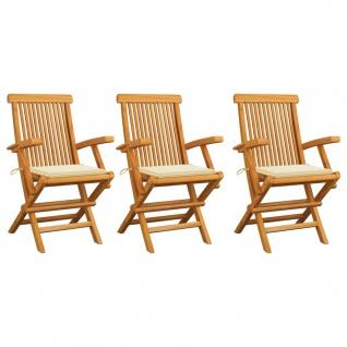 vidaXL Gartenstühle mit Cremeweißen Kissen 3 Stk. Massivholz Teak