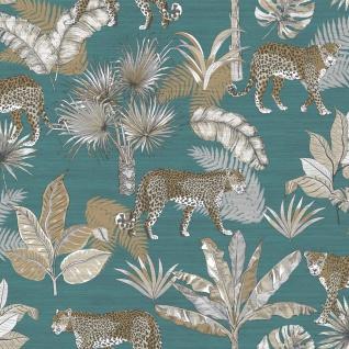 Dutch Wallcoverings Tapete Leoparden-motiv Blau Und Beige - Vorschau 2
