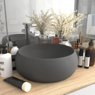 vidaXL Luxuriöses Waschbecken Rund Matt Dunkelgrau 40x15 cm Keramik