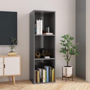 vidaXL Bücherregal/TV-Schrank Hochglanz-Grau 36x30x114 cm Spanplatte