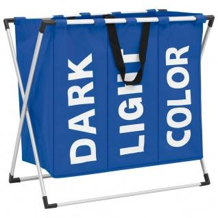 vidaXL Wäschesortierer mit 3 Fächern Blau