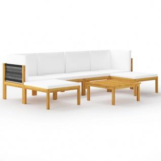 vidaXL 7-tlg. Garten-Lounge-Set mit Kissen Cremeweiß Massivholz Akazie