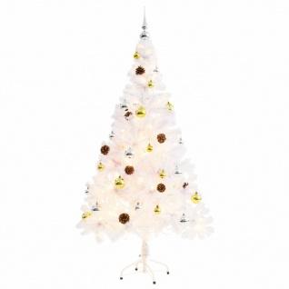 vidaXL Künstlicher Weihnachtsbaum Geschmückt Kugeln LEDs 150 cm Weiß