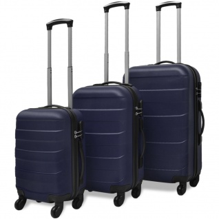 vidaXL 3-tlg. Hartschalen-Reisekoffer-Set Trolley Blau