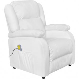 vidaXL Elektrischer Massagesessel Kunstleder Einstellbar Weiß