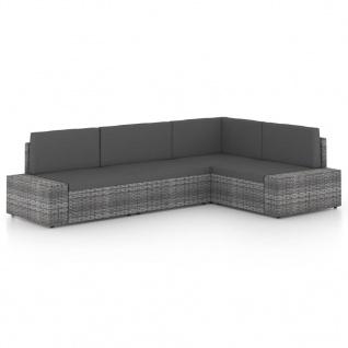 vidaXL 4-tlg. Garten-Lounge-Set mit Kissen Grau Poly Rattan
