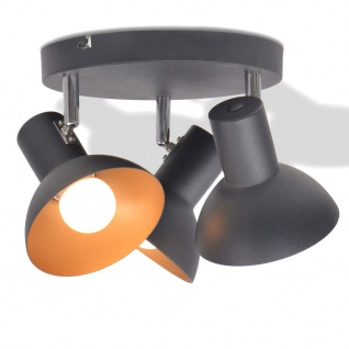 vidaXL Deckenlampe für 3 Glühbirnen E27 Schwarz und Gold