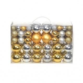 vidaXL 100-tlg. Weihnachtskugel-Set 6 cm Silbern/Golden