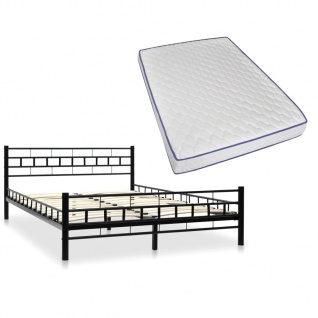 vidaXL Metallbett Memory Foam Matratze 140x200cm Schwarz Block Design