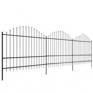 vidaXL Gartenzaun mit Speerspitzen (1, 75 - 2) x 6 m Stahl Schwarz