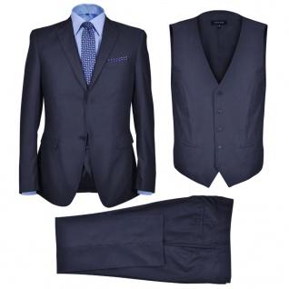 Dreiteiliger Herren-Business-Anzug Größe 52 Marineblau