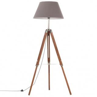 vidaXL Stativlampe Honigbraun und Grau Teak Massivholz 141 cm